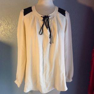 PLENTY TRACY REESE ivory silk tunic blouse S (B2)